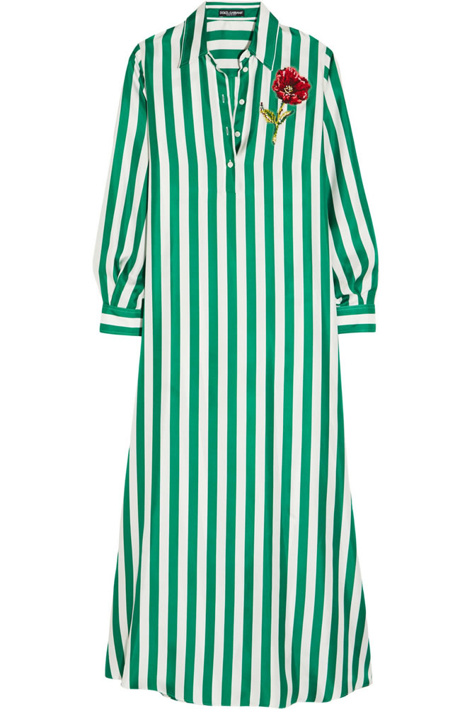 Dolce & Gabbana green striped shirt dress as seen on Rihanna