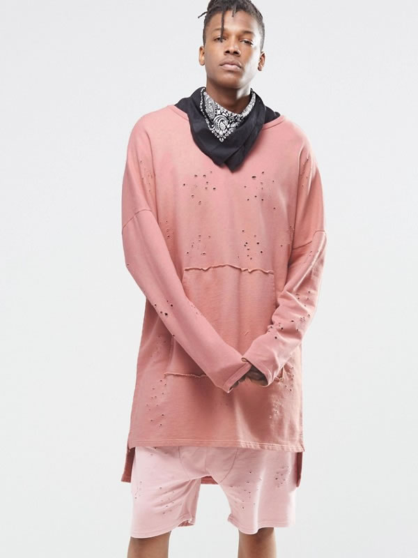 Granted pink distressed sweatshirt as seen on Rihanna
