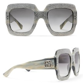 Gucci oversized rhinestone square sunglasses in grey as seen on Rihanna