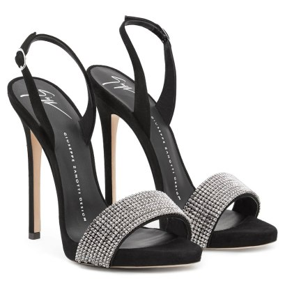 Giuseppe Zanotti black suede Sophie crystal sandals as seen on Rihanna