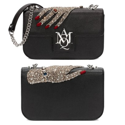 Alexander McQueen jeweled hand insignia chain satchel as seen on Rihanna