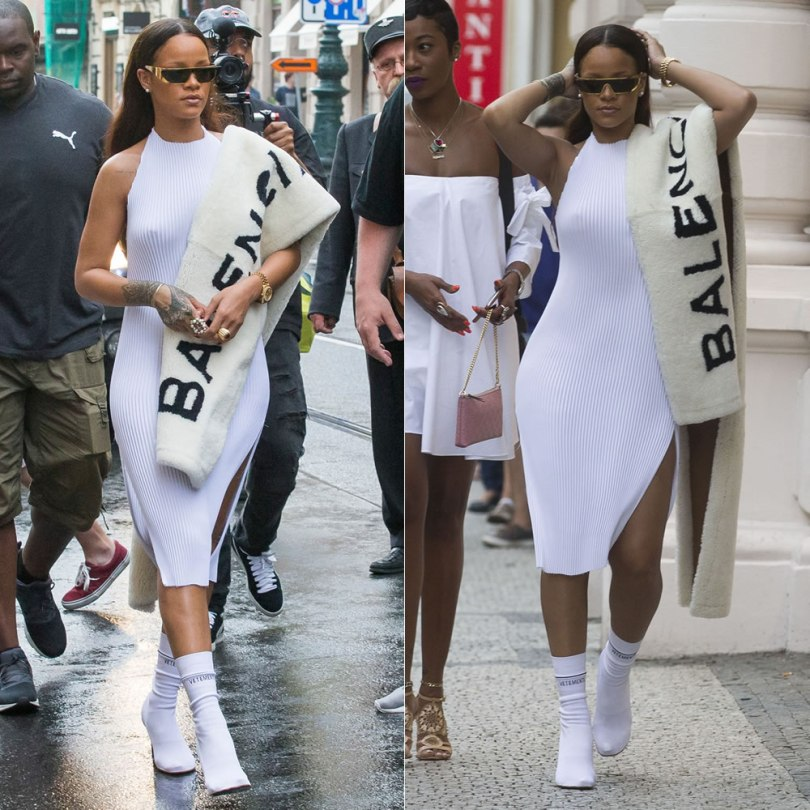 Rihanna Faustine Steinmetz white pleated halter dress, Vetements white logo sock boots, Balenciaga logo stole, Rihanna Dior gold shield sunglasses
