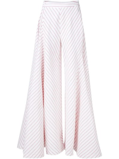 Rosie Assoulin striped wide leg trousers as seen on Rihanna