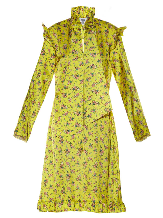Vetements floral print yellow dress as seen on Rihanna