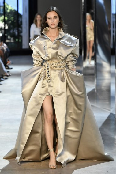 Alexandre Vauthier Fall 2016 couture gold dress and grommet sandals as seen on Rihanna