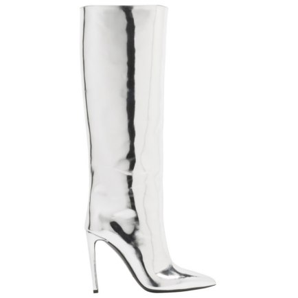 Balenciaga silver mirror effect knee-high boots as seen on Rihanna