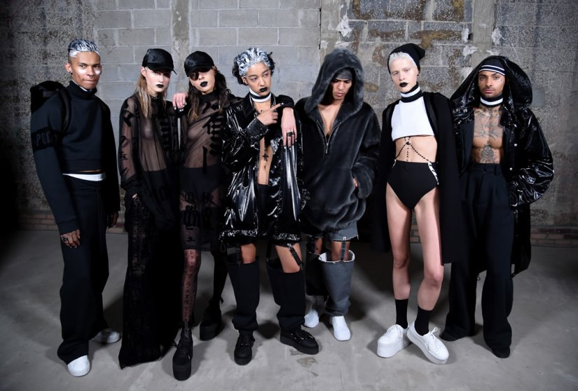 Fenty x Puma Fall 2016 backstage group shot of the models