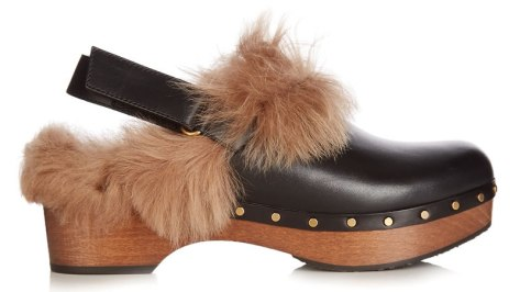 Gucci fur-trimmed Amstel slingback clogs as seen on Rihanna