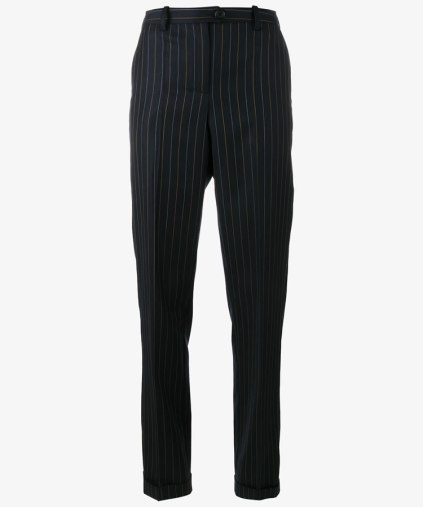 Jacquemus slim pinstripe wool trousers as seen on Rihanna