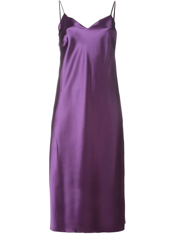 Marques'Almeida purple satin cami slip dress as seen on Rihanna