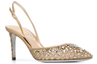 René Caovilla embellished slingback d'Orsay pumps as seen on rihanna