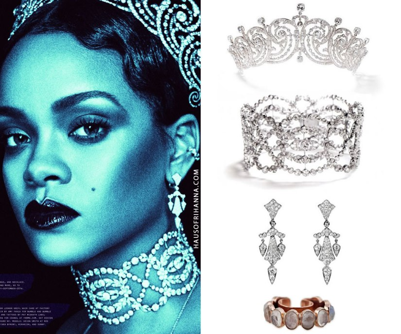 Rihanna W magazine September 2016 Cartier diamond tiara, choker necklace, chandelier earrings and Jacquie Aiche moonstone ear band