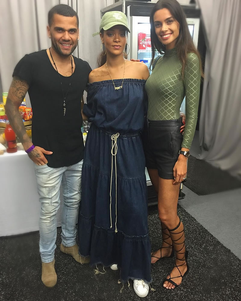 Rihanna Chloe off shoulder denim dress, Puma Basket Classic sneaker