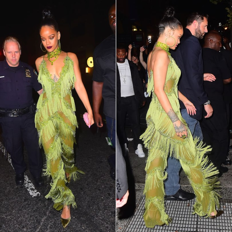 Rihanna Limpasse green fringe jumpsuit, Lydia Courteille tsavorite and brown gold ring, Kerin Rose Gold olive crystal hoop earrings