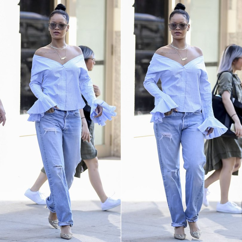 Rihanna Jacquemus blue white off shoulder top striped, Versace Lense aviator sunglasses, Rene Caovilla embellished slingback d'Orsay pumps