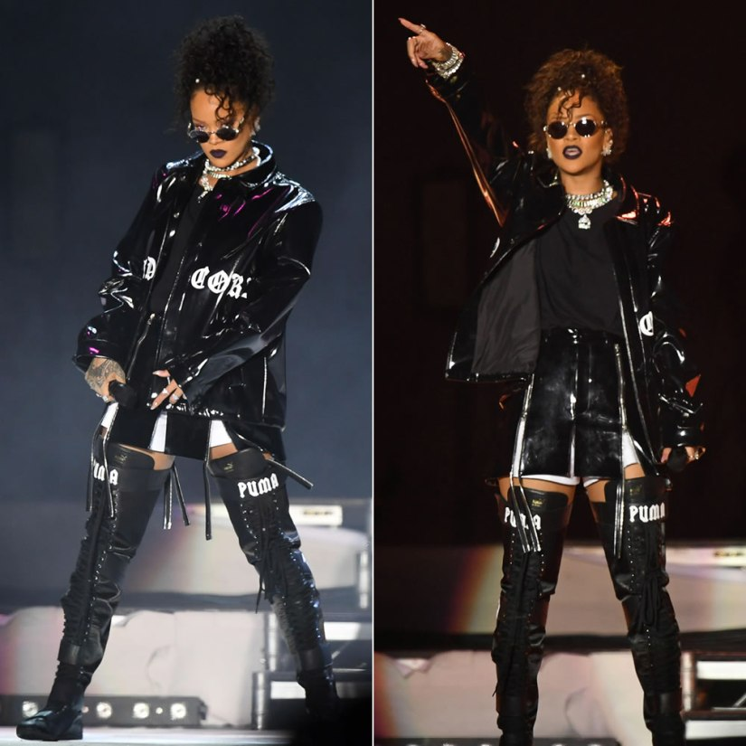 Rihanna Misbhv hard core black jacket at V Festival 2016, Hood by Air multi-zip mini skirt, Fenty x Puma thigh-high boots, Fallon Monarch fan earrings, Jean Paul Gaultier vintage 56-6106 sunglasses