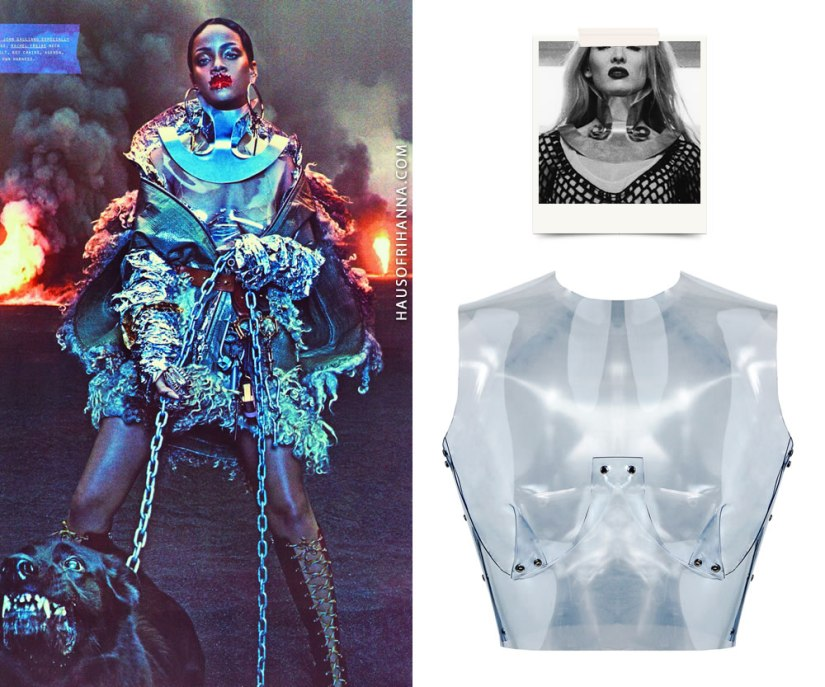 Rihanna W magazine September 2016 Maison Margiela cape, Rachel Freire She-Ra collar, Fannie Schiavoni PVC bustier, Prada lace--up boots, Jennifer Fisher Samira hoop earrings, Lynn Ban claw rings, Jacquie Aiche diamond halter bra