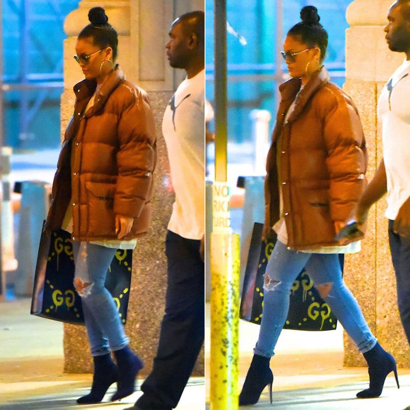 Rihanna North Face vintage brown puffer jacket from Goodbye Heart Woman, Citizens of Humanity Racer distressed skinny jeans, Gucci Real graffiti XL tote