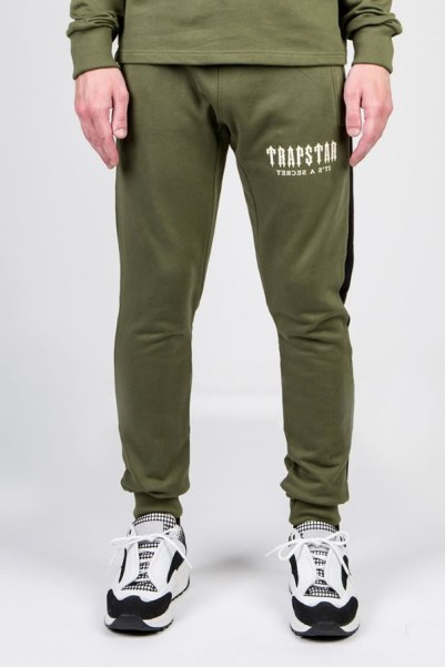 Trapstar olive Irongate side panel sweatpants as seen on Rihanna