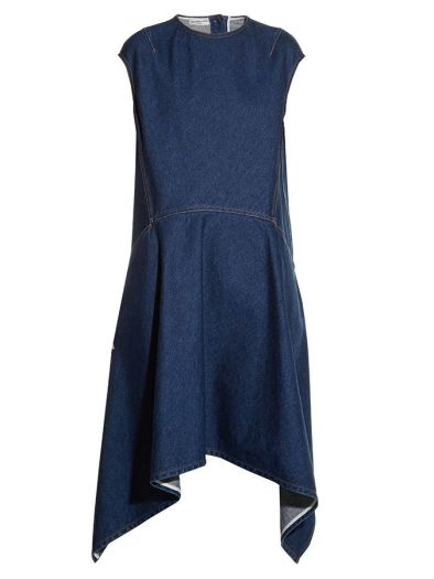 Balenciaga asymmetric denim dress as seen on Rihanna