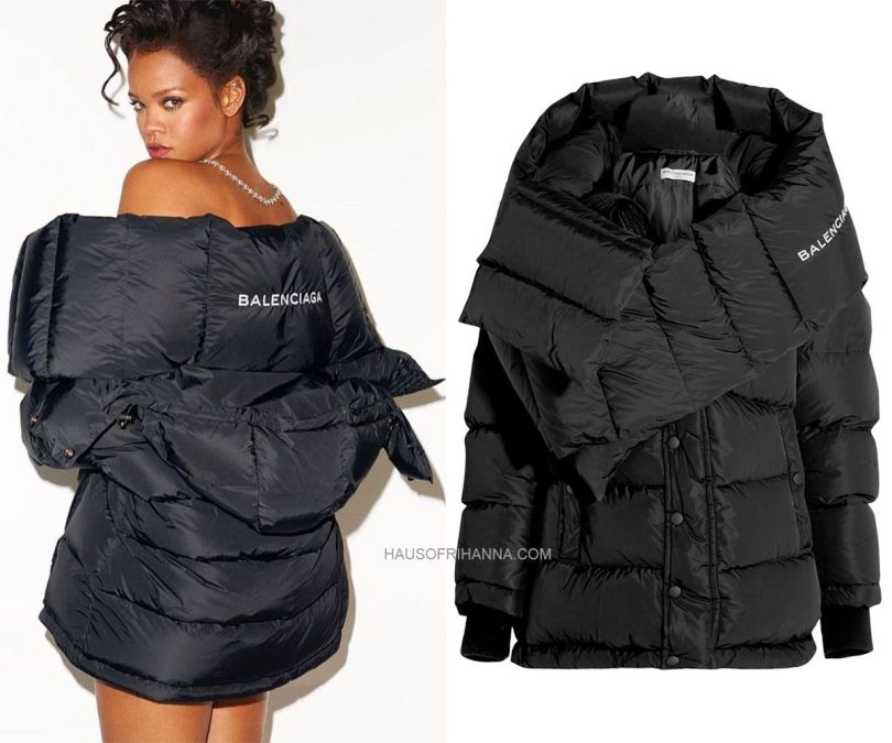 Rihanna CR Fashion Book Balenciaga Swing Doudoune oversized black puffer jacket