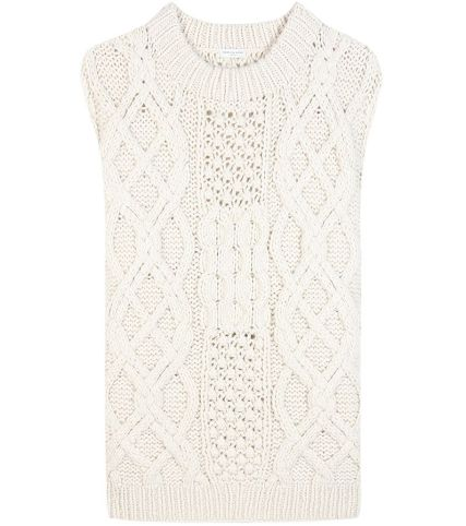 Dries Van Noten sleeveless cable knit cashmere sweater as seen on Rihanna