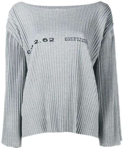 Faustine Steinmetz grey pleated drop shoulder sweater as seen on Rihanna