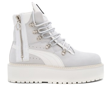 Fenty x Puma white platform sneaker boots as seen on Rihanna