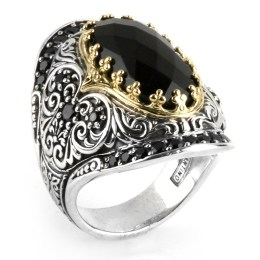 Konstantino Sibylla sterling silver, 18k yellow gold and onyx ring as seen on Rihanna