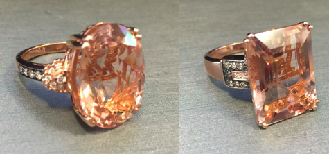 Le Vian morganite and diamond rings as seen on Rihanna