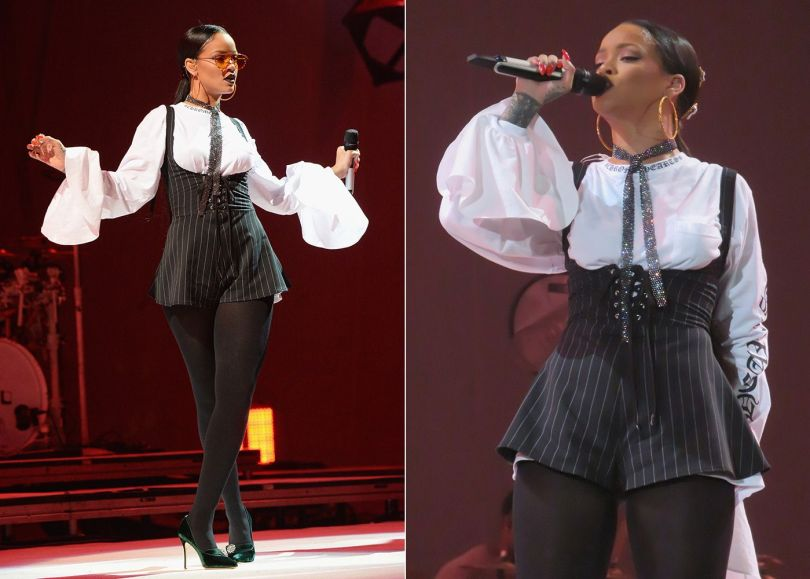 Rihanna Chrome Hearts long sleeve tee, custom Adam Selman pinstripe romper, Manolo Blahnik green sued pumps, Gentle Monster Zhora Ori sunglasses, Fallon Monarch mesh fishnet sash choker, Kerin Rose Gold crystal hoop earrings