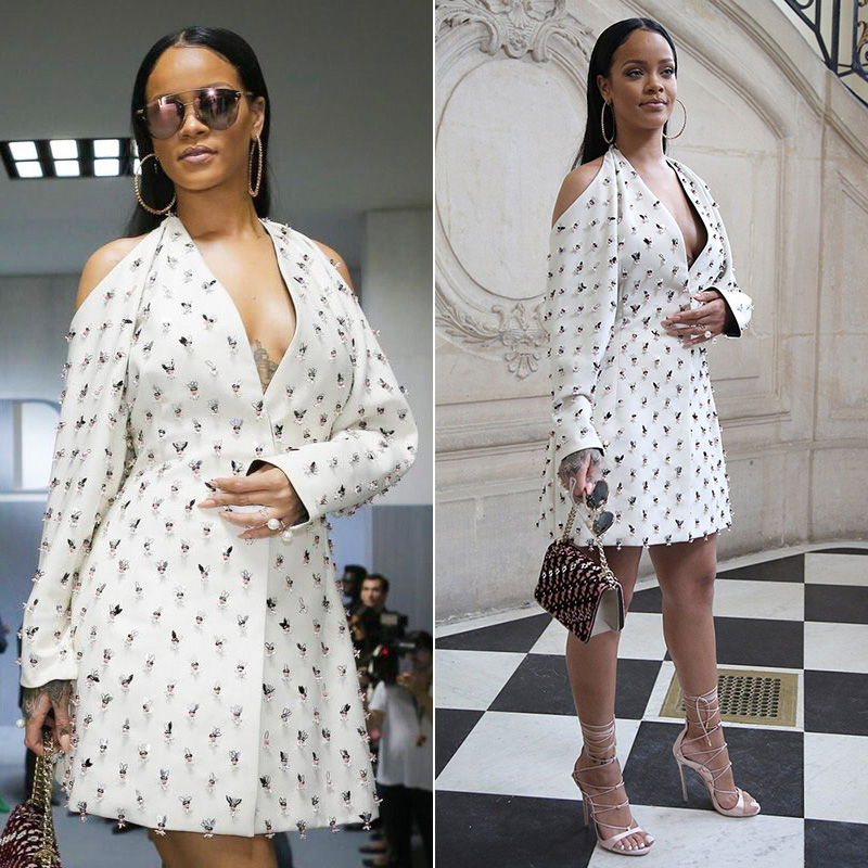 Rihanna Dior embellished couture dress Spring 2016, Diorama Club handbag, Dior Reflected sunglasses, Dsquared2 pink satin Riri sandals, Lynn Ban pearl rings
