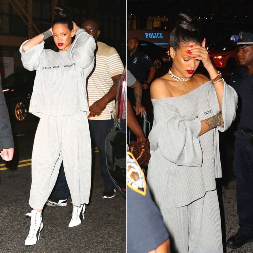 Rihanna Faustine Steinmetz pleated grey sweater and track suit bottoms, Fenty x Puma white sneaker ankle boots, Huckleberry Ltd Don't Trip necklace, Chopard Happy Hearts pave diamond bracelet