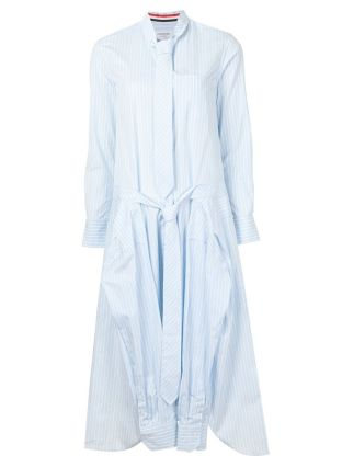 Thom Browne light blue striped tie collar shirt dress as seen on Rihanna