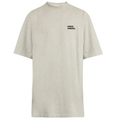 Vetements Unidad Hombres embroidered grey t-shirt as seen on Rihanna
