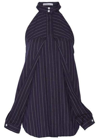 Dion Lee cutout navy pinstripe top as seen on Rihanna