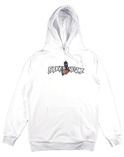 Fucking Awesome white Break Thru hoodie as seen on Rihanna