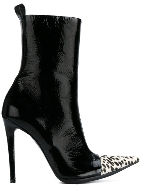 Haider Ackerman black contrast leopard toe boots as seen on Rihanna
