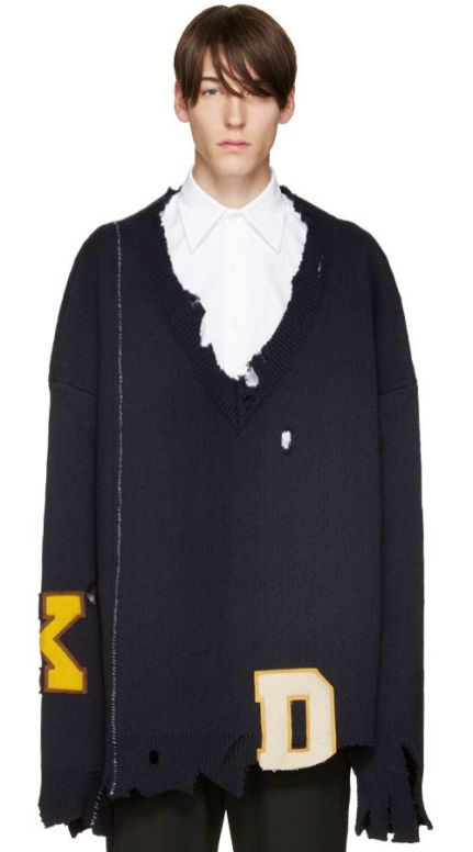 Raf Simons Fall 2016 navy oversized destroyed sweater as seen on Rihanna