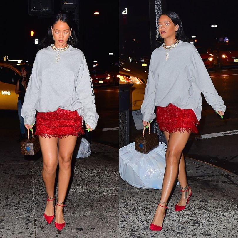 Rihanna Vetements grey oversized sweatshirt, Christian Louboutin red Uptown suede pumps, Louis Vuitton Twisted Box handbag