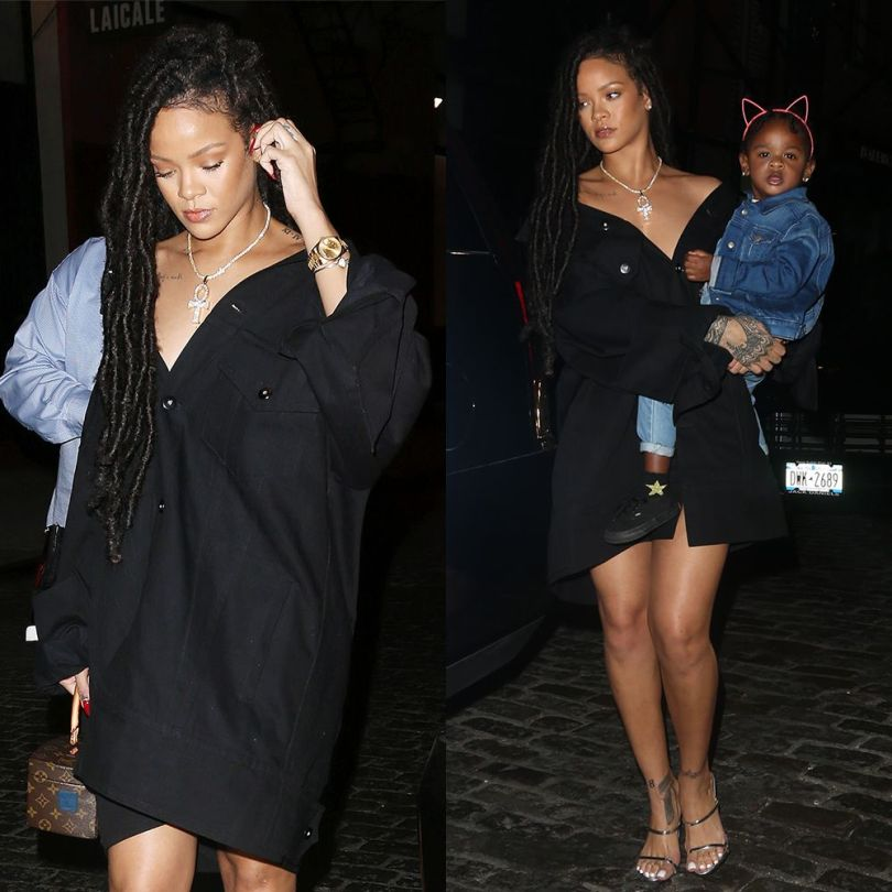 Rihanna Matthew Adams Dolan black jacket dress, Giuseppe Zanotti Darsey silver mule sandals, Chopard Happy Hearts pave diamond bracelet, Rafaello and Co ankh necklace, Louis Vuitton Twisted Box handbag