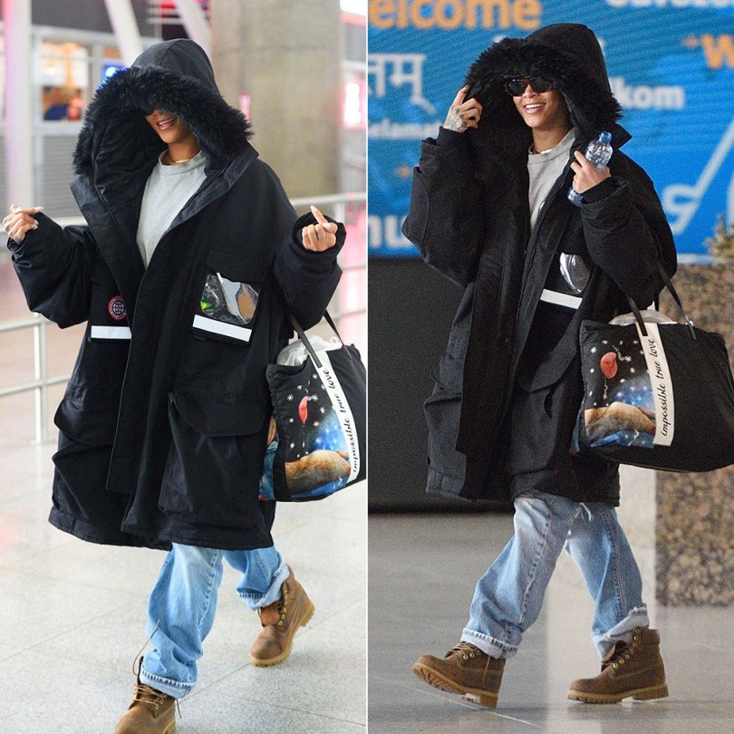Rihanna Vetements fur hood parka, Timberland brown burnished heritage boots, Prada Fall 2016 tote