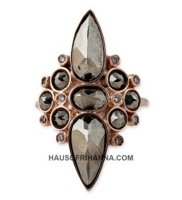 Jacquie Aiche rose gold raw diamond Hanalei ring as seen on Rihanna
