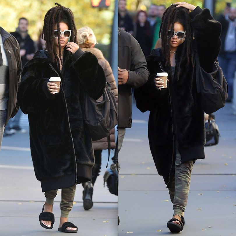 Rihanna Fenty Puma oversized fur bomber jacket and black fur slides, Gucci oversized rhinestone sunglasses