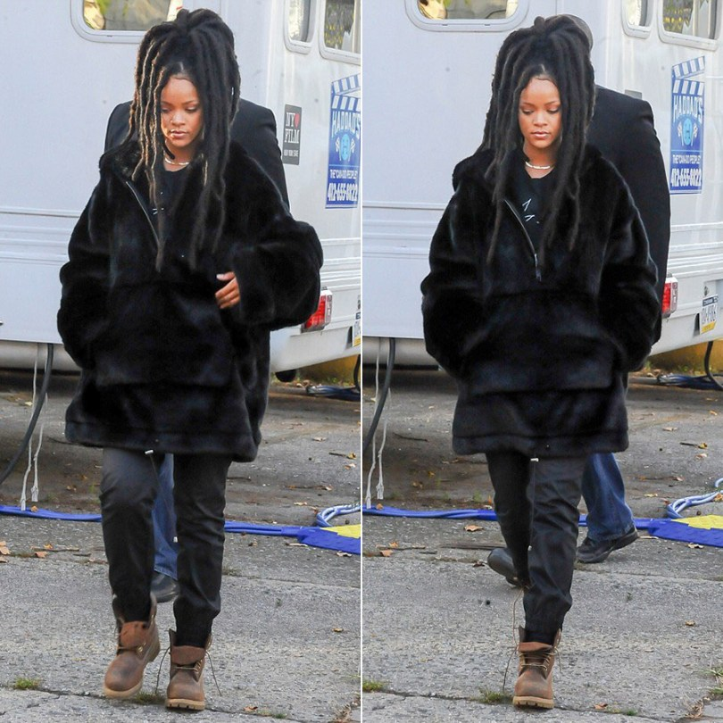 Rihanna Fenty Puma faux fur hoodie pullover, Timberland brown burnished Heritage boots