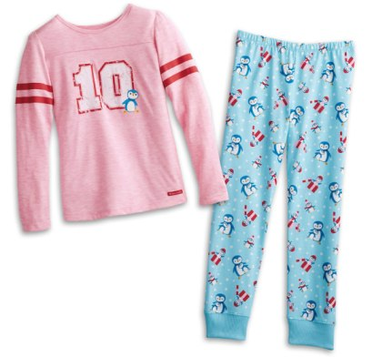 American Girl holiday penguin pyjamas as seen on Rihanna