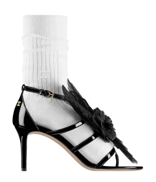 Chanel Resort 2017 tulle-embellished sandal with ankle sock as seen on Rihanna
