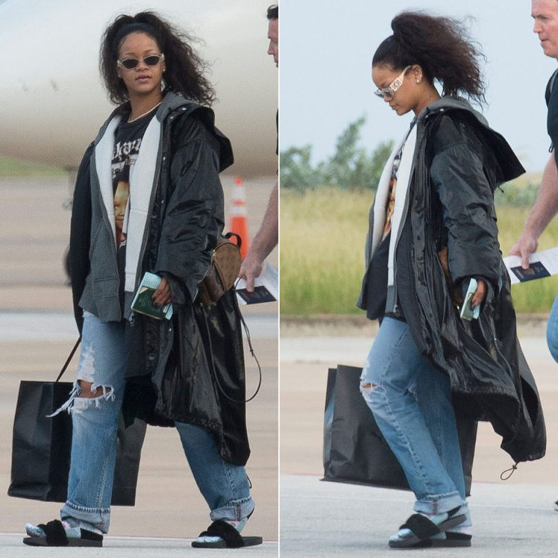 Rihanna Fenty Puma sideline parka, fleece zip-pup hoodie, and black fur slides, Made in American young Rihanna t-shirt, Versace vintage 421b clear frame sunglasses, Louis Vuitton Palm Springs Mini backpack
