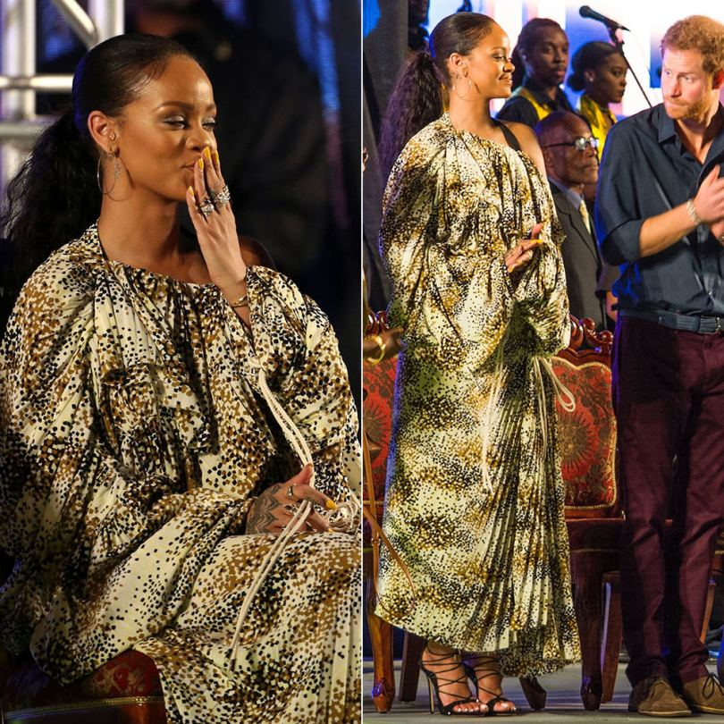 Rihanna Marni off shoulder dress independence concert, Dsquared2 Riri black sandals, Jacquie Aiche pyramid baguette hoops and tiara ring Prince Harry Barbados