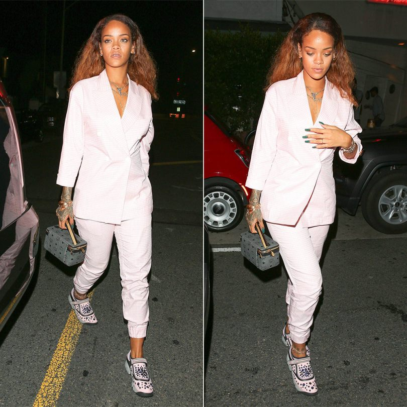 Rihanna Walk of Shame Moscow pink gingham suit Spring 2015, Dior Fusion sneakers, Jennifer Fisher Fenty necklace